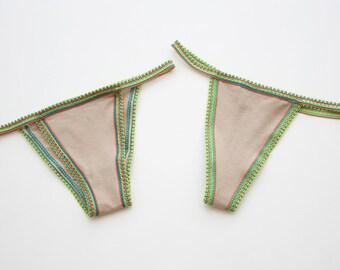 Set of 2 Crochet Lace Edge Thong Cheeky Panties G String XS S M L XL