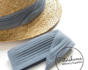 Wrap Around Puggaree Ribbon Hat Band for Hat Making / Millinery - Chambray Blue Denim