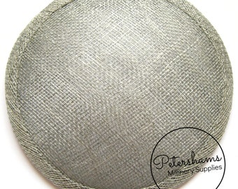 14cm Pewter Grey Round Millinery Sinamay Hat Base for Fascinators, Cocktail Hats and Wedding Veils