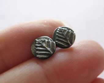 Oxidized Tiny Leaf Post Earrings in Sterling Silver and PMC
