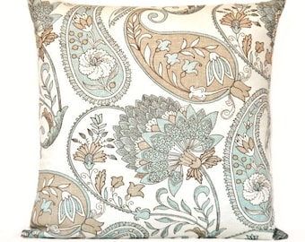 Floral Paisley Pillow Cover Cushion Aqua Taupe Beige Decorative Repurposed 18x18