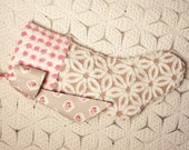 Elegant Mocha Daisy Hofmann and Hand Tufted Pink and White Vintage Chenille Stocking with Cameo Roses Bow