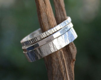 Stacking rings hammered-sterling silver-wide band-handmade stackable rings.