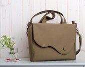 Elegant messenger and tote bag in taupe, olive, bronze or khaki color twill and burgundy lining. Summer bag. Everyday purse