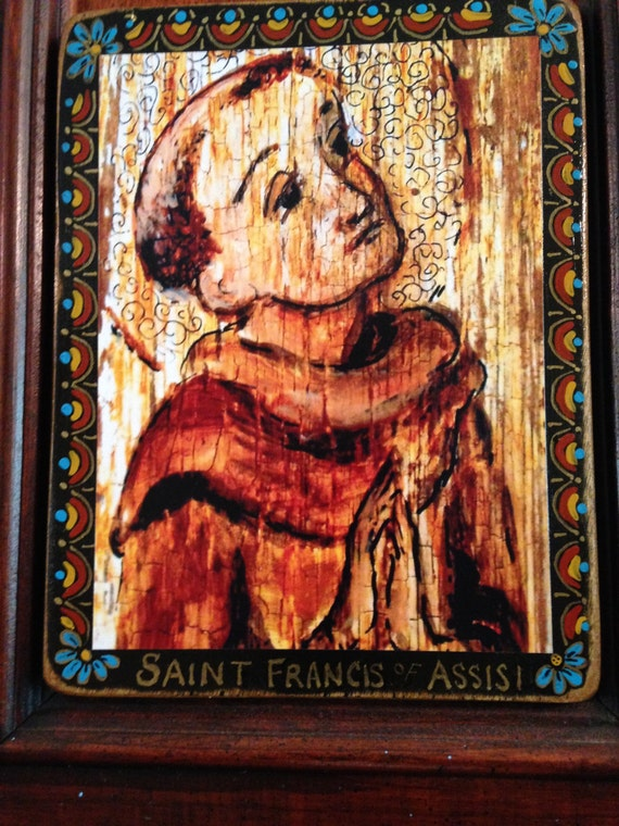 Religious gift for him Saint St Francis of Assisi retablo animal lover