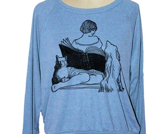 Womens CAT & DOG sweatshirt raglan pullover American Apparel 3 COLORS (sm med lg ) skip n whistle