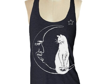 CAT Moon Tank Top shirt - American printed Apparel Tri-Blend Tank workout - 8 color options Available in sizes S, M, L