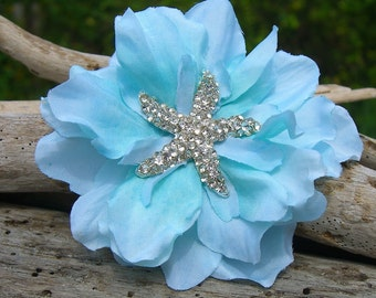Starfish Hair Accessory,Blue Hair Clip,Beach Wedding,Starfish Wedding,Starfish Hair Clip,Mermaid Accessories,Bridesmaid Hair Clip,Scuba Blue