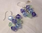 Handmade Swarovski Hydrangea Crystal Earrings, Sterling Silver, Dangle earrings, Cascade earring, Cluster earring, summer earrings