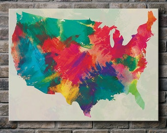 Watercolor USA Map - Canvas Print (multiple color options)