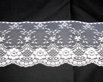 4 inch polyester flat  Victorian lace - white - 75 cents a yard