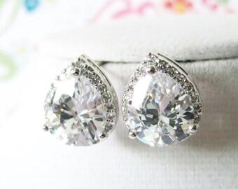 Wedding Bridesmaid Gift Bridal Earrings Bridesmaid Jewelry Clear White luxe Cubic Zirconia Teardrop Ear Post Stud Earrings Sterling, Jarita