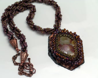 Brown Beaded Jasper Pendant and Spiral Stitch Woven Necklace