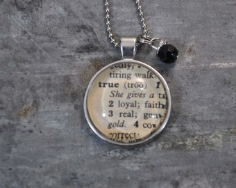 One Word Vintage Dictionary Necklace- TRUE