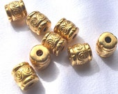 Vintage Gold Tube Beads, New/Old Stock, Metal over Resin Beads, 12 x 10 mm,  8 Pieces, Jewelry Supplies