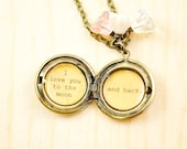 I love you to the moon and back - Girl's Locket - in antique brass