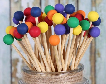 Classic Rainbow Lollipop Sticks, Rainbow Cake Pops Sticks, Marshmallow Pop Sticks, Rock Candy Sticks, Rainbow Party, Wooden Sticks (12)