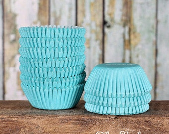 MINI Aqua Cupcake Liners, Mini Light Aqua Baking Cups, Turquoise Candy Cups, Aqua Cake Pop Cups, Mini Wedding Cupcake Liners (100)