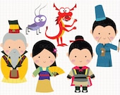 Disney Inspired Mulan Digital CLIP ARTS personal and commercial use for invitations, cupcake toppers, birthday cards, party supplies