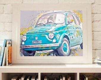 Vintage Italian FIAT 500 car fine art poster italian symbol Rome streets italy prints italian wall art