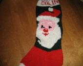 Santa Clause Christmas Stocking, Christmas Stocking, Knit Christmas Stocking, Personalized Christmas Stocking
