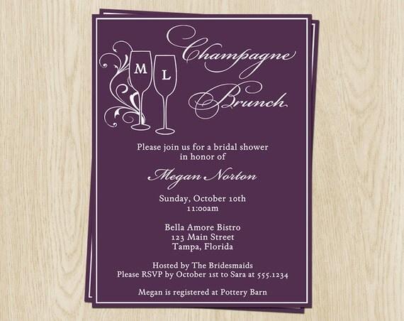 Champagne brunch bridal shower invitations by for Champagne brunch bridal shower