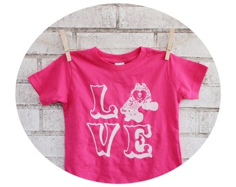Roller Derby Shirt, Hand Printed Youth Tshirt, Toddler Clothes, Short Sleeved Graphic Tee, The word Love, Kids Clothing, Gift For Children