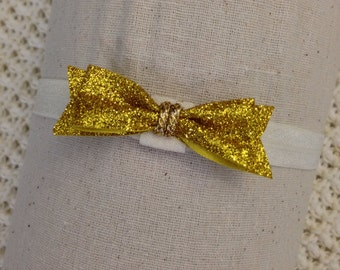 Gold glitter 2 inch bow, stretch elastic headband