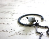 Modern White Glass and Metal Necklace : Rustic Modern Open Circle White and Black Sleek Mod Jewelry / Beauty and the Beast in White