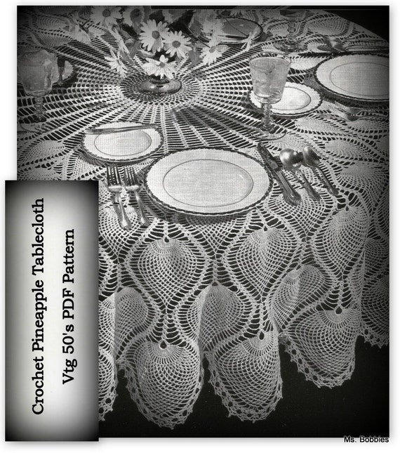 Crochet Tablecloth Pineapple Pattern Round Tablecloth