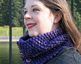 luxurious merino cowl in purple