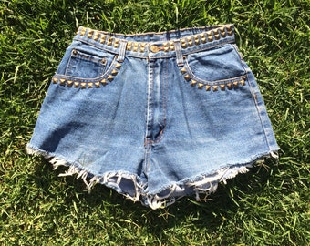 Vintage 1980s High Waisted Levi Denim Shorts with Bronze Studs