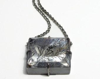 Magnesium Dendrite Quartz Talisman Pendant Rectangle Handmade Sterling