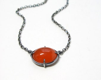 Carnelian Cabochon Necklace Sterling Minimal Setting