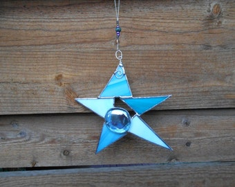 Stained Glass Star - Blue - Suncatcher - Glass - Art - Beaded