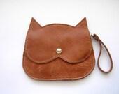light tan leather Cat bag,  brown leather wristlet  Cat clutch purse, crazycatlady bag