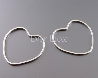 4 heart pendants, 25mm open heart charms for earrings, necklaces, jewelry / jewellery supplies 950-MR-25 (matte silver, 25mm, 4 pieces)