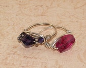 Lot of 2 Wire Wrapped Sample Rings, Sterling Silver, Swarovski