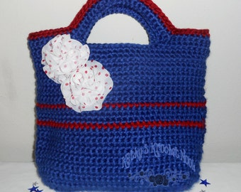 2014 4th of July Classic Crochet Tote - bag, tote bag, tote, market bag, purse, handbag, evening bag, blue, red, white 4th of July, crochet