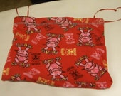 """Up-Cycled """"Happy Bunny"""" project bag/drawstring pouch"""