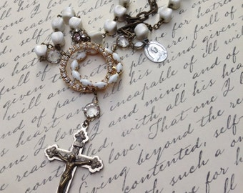 Upcycled Vintage Religious Assemblage Necklace,OOAK,repurposed,White Rosary beads,Rhinestones