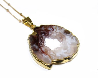 Agate Geode Drusy Gemstone Necklace, Gold Filled Beaded Chain