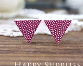 Buy 1 Get 1 Free - 20pcs  (WG39) Triangle Handmade Photo Wood Cut Cabochon (Back White)