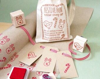 Christmas Stamps - Festive Fun Rubber Stamp Set - Stocking Stuffer Filler - Chrstmas Gift for Crafter - Reindeer Stamper - Robin - Candy