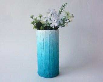 Teal ombre Vase / blue home decor / handcrafted vase / blue flower vase / cylinder vase / Caribbean blue