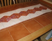 Quilted Table Runner in Orange and Purple - Triangle collection