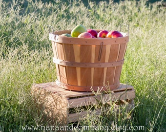 Wood Fruit Basket - Apples, peaches, and more - Photography Prop