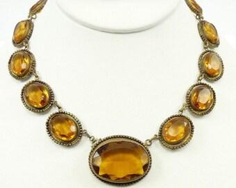 Beautiful Art Nouveau Art Deco Open Back Honey Amber Crystal Vintage Antique Necklace