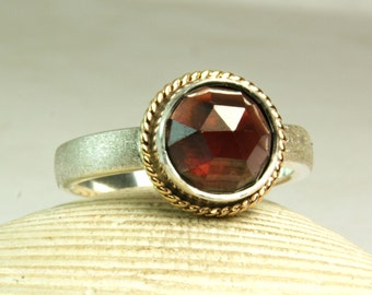 Sterling Silver Red Garnet Ring, Solid 14k Gold, Satin Band, Rose Cut Gemtone, Handmade, made to order