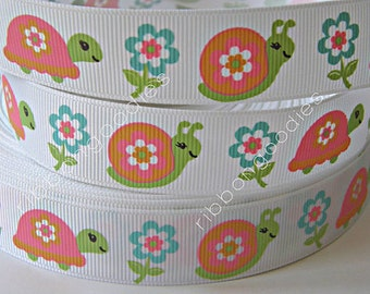 7/8 Turtles Snails MTMG Flower Power Grosgrain Ribbon by the Yard for hard bow making scrap booking card making
